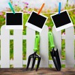 Garden tools and photoframes on a clothespin — Foto de Stock