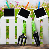 Garden tools and photoframes on a clothespin — Stock Photo