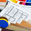 Fabrics and materials to repair the home   — Stock Photo