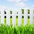 White garden fence on the lawn overlooking  — Stock Photo