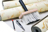 Paper wallpaper and tools — Stock Photo