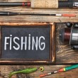 Blackboard with the word fishing — Stock Photo