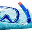 Stock Photo: Mask and snorkel for swimming on towel
