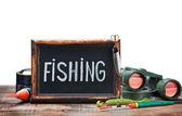 Lavagna e attrezzi da pesca — Foto Stock