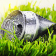 Crumpled aluminum can on a green grass   — Стоковая фотография