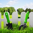 Garden tools on the lawn of the house — Stock Photo