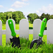 Garden tools on the lawn of the house  — Stockfoto