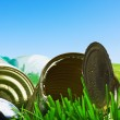 Old empty cans on the grass — Stock Photo #25622379