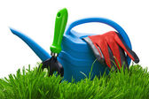 Garden tools on a green — Stock Photo