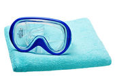 Mask for diving on a towel — Stock Photo