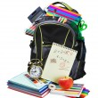Backpack full of school supplies on white - Foto Stock