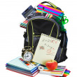 Backpack full of school supplies on white — Stock Photo