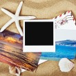 Stock Photo: Empty photo frame and photos from vacation