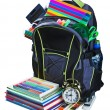 Backpack for school stationery learning isolated — Stock Photo