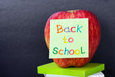 Paper sticker on the apple back to school — Stok fotoğraf
