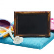 Blackboard and accessories for the beach — Foto de Stock