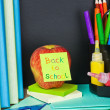 Paper sticker on the blackboard back to school — Foto Stock