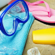 Facilities for swimming and relaxing on the beach — Stock Photo