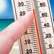 Thermometer in hand shows the intense heat — Stockfoto
