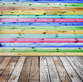 Colored wooden wall and floor — Stock Photo