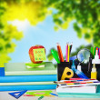 School supplies on the background — Stock Photo