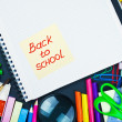 Stock Photo: Sticker with the words back to school