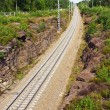 Railroad passes through a rock in Vyborg — Stock Photo