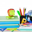 Stock Photo: School Accessories Isolated on white