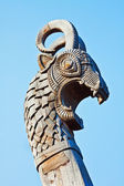 Head of a dragon on the front of the Viking ship — Stock Photo