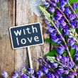 Stock Photo: Wild flowers and black board with text with love