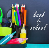 Back to school and supplies for school — Stock Photo