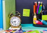 Paper sticker on the blackboard back to school — Stock Photo