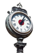 Old retro street clock isolated — Stock Photo