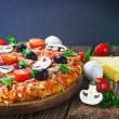 Stock Photo: Pizzwith mushrooms and cheese