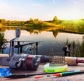 Fishing on the lake — Stock Photo