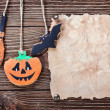 Old paper for congratulations with Halloween and homemade cookie — Stock Photo
