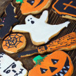 Stock Photo: Handmade Halloween cookies background