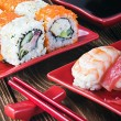 Stock Photo: Seafood sushi and chopstick