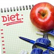 Notepad with diet plan  — Stockfoto