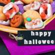 For Halloween candy and black label — Stock Photo