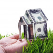 House made of money in hand isolated — Stock Photo #31308439