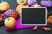 For Halloween candy and blackboard — Stock Photo