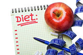 Notepad with diet plan — Stock Photo