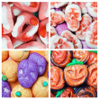 Stock Photo: collage of various candies and Swets halloween