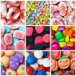 Collage of various candies and sweets — Stock Photo