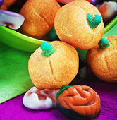 candy and pumpkin souffle of a holiday Halloween — Stock Photo