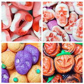 Collage of various candies and Swets halloween — Stok fotoğraf