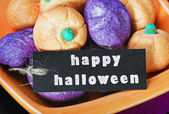 Halloween candy and black label — Stockfoto