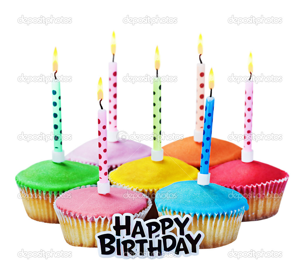 Colorful happy birthday cupcakes with candles — Stock Photo ...
