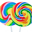 Colorful spiral lollipop isolated on white — Stock Photo